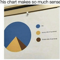 Memes, Math, and Science: his chart makes so much sense  Sunny side of pyramid  Shady side of pyramid 🤔 . . pyramidsofgiza pyramids chart engineering engineer science math engineeringrepublic engineering_memes engineeringmemes