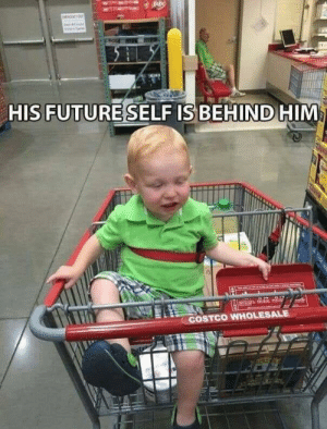 When the past and the future meets: HIS FUTURESELF IS BEHIND HIM  COSTCO WHOLESALE When the past and the future meets