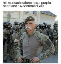 Being Alone, Memes, and Pop: his mustache alone has a purple  heart and 14 confirmed kills  op Smoke  418  RED His pornstash defines @badassery 😏 - - - pc @pop_smoke_official
