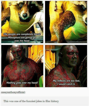 Baby groot tho.. - Meme by Iambutthead :) Memedroid: His people are completely literal  Metaphors are gonna go  over his head.  My reflexes are too fast.  I would catch it.  Nothing goes over my head!  caseyanthonyofficial:  This was one of the funniest jokes in film history Baby groot tho.. - Meme by Iambutthead :) Memedroid