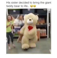 Hilarious! 😂 Credit: @tylercapito: His sister decided to bring the giant  teddy bear to life..  Tyler Hilarious! 😂 Credit: @tylercapito