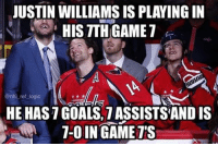 Holy 7, Mr. Game 7. Hell of a good luck charm for the Caps: HIS TTHGAME1  @nhl ref logic  HE HASTGOALS, 7 ASSISTSANDIS  T-OIN GAME TTS Holy 7, Mr. Game 7. Hell of a good luck charm for the Caps