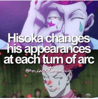 Anime, Facts, and Memes: Hisoka change  his appearances  at each tum of arc QOTD: Hisoka or Killua? | Follow @animee for Anime Facts | 🔥 . . Cr. @animetoon.ig