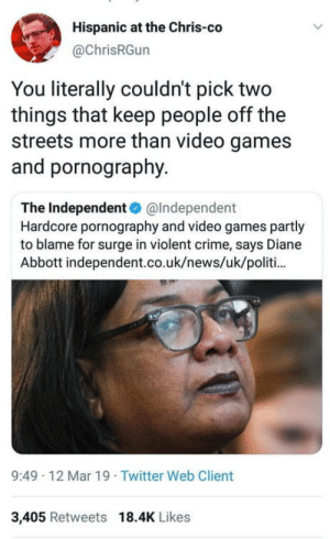 Why beat up a rival gang when you can beat your meat: Hispanic at the Chris-co  @ChrisRGun  You literally couldn't pick two  things that keep people off the  streets more than video games  and pornography.  The Independent@Independent  Hardcore pornography and video games partly  to blame for surge in violent crime, says Diane  Abbott independent.co.uk/news/uk/politi  9:49 12 Mar 19 Twitter Web Client  3,405 Retweets 18.4K Likes Why beat up a rival gang when you can beat your meat