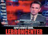 ESPN reveals: LeBronCenter! Credit: Jimmy Stewart & ESPN Memes: HISTORIC  PERFORMANCE  LeBRON vs  DURANT  KING JAMES  ENCORE?  BEST SCORING  NIGHT EVER?  @NBAMEMES  DWADES  IMPACT  LeBRON IN  THE ZONE  HEAT 24 BOBCATS 107  LeBron James: career-high 61 Pts  (Heat single-game franchise record)  E KINGS  MASTERPIECE  am at end  of season. Puyol 35, has  spent entire career with  R  ESPN'S NEWEST SHOW.  LEBRON CENTER ESPN reveals: LeBronCenter! Credit: Jimmy Stewart & ESPN Memes