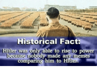 Memes, 🤖, and Shock: Historical Fact:  Hitler was only able to rise to power  use nobody made any memes  comparing him to Hitler. Shocking revelation!
