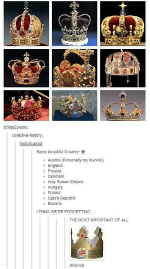 I'm American royalty!: historicalslut  some beautiful Crowns-  Austria (Personally,my favorite)  o England  Prussia  o Denmark  Holy Roman Empire  o Hungary  Poland  ° Czech Republic  o Bavaria  I THINK WE RE FORGETTING  THE MOST IMPORTANT OF ALL  America. I'm American royalty!
