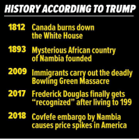 """Frederick Douglas: HISTORY ACCORDING TO TRUMP  1812 Canada burns down  1893 Mysterious African country  2009 Immigrants carry out the deadly  2017 Frederick Douglas finally gets  2018 Covfefe embargo by Nambia  the White House  of Nambia founded  Bowliná Green Massacre  """"recognized"""" afterliving to 199  causes price spikes in America"""