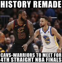 Cavs, Finals, and Memes: HISTORY REMADE  @NBAMEMES  23  Rokuten  EN ST  30  CAVS-WARRIORS TO MEET FOR  4TH STRAIGHT NBA FINALS Who you got? https://t.co/UxHTXMGRtJ