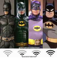 """Batman, Community, and Instagram: @HISTORYOFTHEBATMAN  @HISTORYOFTHEBATMAN Good Knight Gothamites! Tomorrow we'll continue our current session """"What's In That Utility Belt: A History of Batman Gadgets""""! I leave you tonight with a fun account edit! Of course you can disagree with my 4 choices. But in my opinion these 4 have had the most time on the big and small screen as the Caped Crusader and you can judge better than others (such as our current Batman Ben Affleck who has only had a small amount of screen time thus far so it's hard to judge properly) the type of Bruce Wayne and Batman they bring to the table. If you don't agree with my choices, that's totally fine! Which ranked 4 would you have chosen? Let us know in the comments and please be polite to those who have a different opinion than yours, this is just for fun in this Batman community ☺️ As always, thanks for following and all of the constant support on and off of Instagram, it is greatly appreciated! Have a great night and we will have more History of the Batman tomorrow. Remember Gothamites, it's all about Peace, Love and Batman! ✌🏼💙🦇🎬📺"""