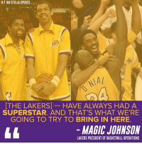 Basketball, Los Angeles Lakers, and Magic Johnson: HIT AM 57O LA SPORTS  [THE LAKERS] HAVE ALWAYS HAD A  SUPERSTAR. AND THAT'S WHAT WERE  GOING TO TRY TO BRING IN HERE.  MAGIC JOHNSON  LAKERS PRESIDENT OF BASKETBALL OPERATIONS Magic wants to bring some more SHOWTIME back to the Lakers.