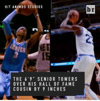 Allen Iverson, Sports, and Rhode Island: HIT ANIM US STUDI O S  NET  THE 6' 9 S ENI OR TOWERS  OVER HIS HALL OF FA ME  COUSIN BY 9 INCHES  br Allen Iverson's cousin Kuran is making his own path at Rhode Island