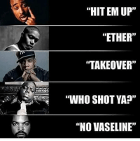 """Do you agree with this? What are your Top 5 diss songs?: """"HIT EM UP""""  """"ETHER""""  TAKEOVER""""  """"WHO SHOT YA?""""  """"NO VASELINE"""" Do you agree with this? What are your Top 5 diss songs?"""