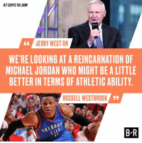 Gg, Michael Jordan, and Russell Westbrook: HIT ESPN'S THE JUMP  JERRY WEST ON  GG  WERE LOOKING ATAREINCARNATION OF  MICHAEL JORDAN WHO MIGHT BEALITTLE  BETTER IN TERMS OF ATHLETICABILITY  RUSSELL WESTBROOK  99  BR 🚨 Hot take alert 🚨