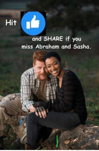 Memes, News, and The Walking Dead: Hit  I  and SHARE if you  miss Abraham and Sasha. Today #TheWalkingDead fans, Sasha and Abraham Michael Cudlitz deserve a RESPONSE from you guys today. :) (y)  http://www.egvoproductions.com/news-blog/wrapping-up-the-walking-dead-season-7
