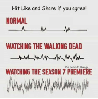 Love, Memes, and News: Hit Like and Share if you agree!  NORMAL  WATCHING THE WALKING DEAD  PREMIERE  WATCHING THE SEASON 7 #TheWalkingDead fans, I would LOVE it if you guys could respond today and show me your excitement for tonight. :) (y)  http://www.egvoproductions.com/news-blog/the-walking-dead-season-7-premiere-the-day-will-come-when-you-wont-be-on-amc-10-23-2016