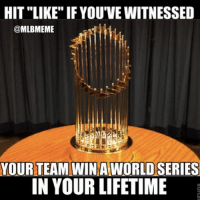 """HIT LIKE IF YOU'VE WITNESSED  @MLBMEME  YOUR TEAM WINA  AWORLDSERIES  IN YOUR LIFETIME Wonder how many """"LIKES"""" this gets."""