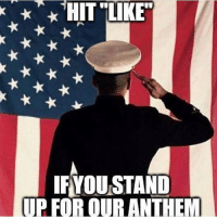 Memes, Soldiers, and Army: HIT LIKE  IFYOU STAND  UP FOR OUR ANTHEM . ✅ Double tap the pic ✅ Tag your friends ✅ Check link in my bio for badass stuff - usarmy 2ndamendment soldier navyseals gun flag army operator troops tactical sniper armedforces k9 weapon patriot marine usmc veteran veterans usa america merica american coastguard airman usnavy militarylife military airforce libertyalliance