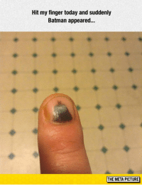 """Batman, Tumblr, and Blog: Hit my finger today and suddenly  Batman appeared..  THE META PICTURE <p><a href=""""https://epicjohndoe.tumblr.com/post/172706767364/bruise-wayne"""" class=""""tumblr_blog"""">epicjohndoe</a>:</p>  <blockquote><p>Bruise Wayne</p></blockquote>"""