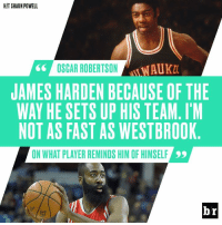 Oscar Robertson compares himself to The Beard.: HIT SHAUN POWELL  66  OSCAR ROBERTSONKA  JAMES HARDEN BECAUSE OF THE  WAY HE SETS UP HIS TEAM.I'M  NOT AS FAST AS WESTBROOK  ON WHAT PLAYER REMINDS HIM OF HIMSELF  br Oscar Robertson compares himself to The Beard.