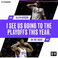 AI has the Sixers going from the lottery to the playoffs.: HIT THE CROSSOVER  66 ALLEN IVERSON  SEE US GOING TO THE  PLAYOFFS THIS YEAR  ON THE 7GERS  PHIL  21  B-R AI has the Sixers going from the lottery to the playoffs.