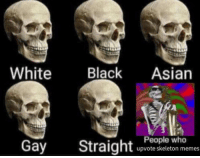 skeleton: hite Black Asian  People who  upvote skeleton memes