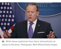 HITE HOUS  HINGTON  x***  a White House spokesman Sean Spicer demonstrates air  quotes to the press. Photograph: Mark Wilson/Getty Images