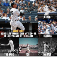 Bad, Club, and Memes: HITerTSHARRITWITTER  AARON JUDGE  JOINS ELITE YANKEES CLUB WITH 10+ HR  JNiST 22 GAMES OF THE SEASON  THE BABE  YOGI  A-ROD  NETTLES  MANTLE Not bad company...