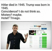 Chicago, Hitler, and Hotel: Hitler died in 1945. Trump was born in  1945  Coincidence? I do not think so.  Mistery? maybe.  Hotel? Trivago.  trivago.com  trivago  Myrmidon Hotel Chicago  102  $122  $139  $150  S185  5205  S219