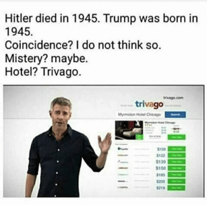 Chicago, Hitler, and Hotel: Hitler died in 1945. Trump was born in  1945  Coincidence? I do not think so.  Mistery? maybe.  Hotel? Trivago.  trivago.com  trivago  Mymidon Hotel Chicago  M HChicge  $100  $122  S139  $150  $185  $205  $219