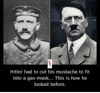 gas mask: Hitler had to cut his mustache to fit  into a gas-mask... This is how he  looked before