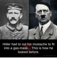 gas mask: Hitler had to cut his mustache to fit  into a gas-mask... This is how he  looked before.  fb.comffacts weird