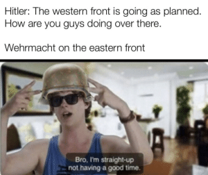 "When the trees start saying ""idti cyka"" https://t.co/8tKxNHVfah: Hitler: Ihe western front is going as planned.  How are you guys doing over there  Wehrmacht on the eastern front  Bro, I'm straight-up  not having a good time. When the trees start saying ""idti cyka"" https://t.co/8tKxNHVfah"