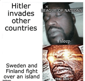 Shit, History, and Hitler: Hitler  invades  other  countries  X  LEAGUE OF NATIONS  i sleep  Sweden and  Finland fight  over an island  real shit  imgfe.com They got serious