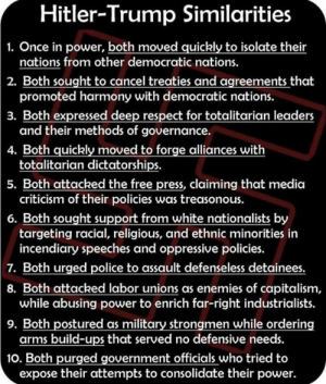 Come on 2020.....: Hitler-Trump Similarities  1. Once in power, both moved quickly to isolate their  nations from other democratic nations.  promoted harmony with democratic nations.  and their methods of governance.  totalitarian dictatorships.  criticism of their policies was treasonous.  2. Both sought to cancel treaties and agreements that  3. Both expressed deep respect for totalitarian leaders  4. Both quickly moved to forge alliances with  5. Both attacked the free press, claiming that media  6. Both sought support from white nationalists by  targeting racial, religious, and ethnic minorities in  incendiary speeches and oppressive policies.  Both urged police to assault defenseless detainees.  7.  8. Both attacked labor unions as enemies of capitalism,  9. Both postured as military strongmen while ordering  10. Both purged government officials who tried to  while abusing power to enrich far-right industrialists.  arms build-ups that served no defensive needs.  expose their attempts to consolidate their power. Come on 2020.....