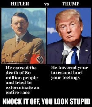 Well, now I feel like a fool.: HITLER  TRUMP  VS  fb.com/MantallyEmancipated  He lowered your  taxes and hurt  He caused the  death of 80  million people  and tried to  exterminate an  your feelings  entire race  KNOCK IT OFF, YOU LOOK STUPID Well, now I feel like a fool.