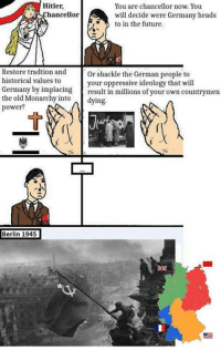 ~R.B: Hitler.  You are chancellor now. You  hancellor  will decide were Germany heads  to in the future.  Restore tradtion and  or shackle the German people to  historical values to  your oppressive ideology that will  Germany by implacing  result in millions of your own countrymen  the old Monarchy into  dying.  power?  Berlin 1945 ~R.B