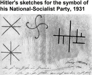Party, Socialist, and MeIRL: Hitler's sketches for the symbol of  his National-Socialist Party, 1931  @mrjapanesema Meirl