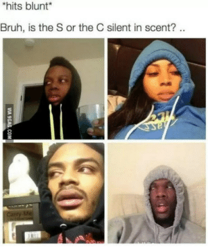 Bruh, Shit, and Blunt: hits blunt  Bruh, is the S or the C silent in scent?. Oh shit