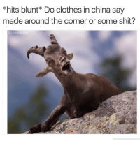 Clothes, Shit, and China: *hits blunt* Do clothes in china say  made around the corner or some shit?  Shitheadstev @highpeopledoingstuff asks the questions that matter