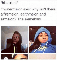 Firemelon: *hits blunt  If watermelon exist why isn't there  a firemelon, earthmelon and  airmel on? The elemelons