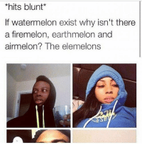 🤔🍉?: *hits blunt*  If watermelon exist why isn't there  a firemelon, earthmelon and  airmelon  The elemelons 🤔🍉?