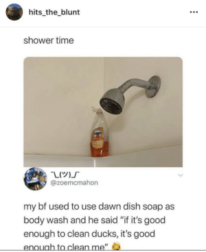 "Meirl: hits_the_blunt  shower time  DAWN  @zoemcmahon  my bf used to use dawn dish soap as  body wash and he said ""if it's good  enough to clean ducks, it's good  enough to clean me"" Meirl"