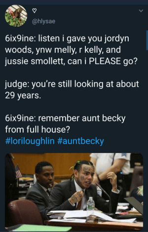 Tekashi aint done yet by TwilightOuterZone MORE MEMES: @hlysae  6ix9ine: listen i gave you jordyn  woods, ynw melly, r kelly, and  jussie smollett, can i PLEASE go?  judge: you're still looking at about  29 years  6ix9ine: remember aunt beckv  from full house?  Tekashi aint done yet by TwilightOuterZone MORE MEMES