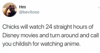 Anime, Disney, and Memes: Hm  @bevitooo  Chicks will watch 24 straight hours of  Disney movies and turn around and call  you childish for watching anime. 🙄