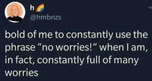 "I Am In: @hmbnzs  bold of me to constantly use the  phrase ""no worries!"" when I am,  in fact, constantly full of many  worries"