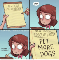Memes, New Year's Resolutions, and Buzzfeed: HMM  NEW YEARS  RESOLUTIONS:  NEW  KAYLA YANDOLI ADAM ELLIS BUZZFEED  RESOLUTIONS:  PET  MORE  SCRIBBLE  SCRIBBLE  DOGS
