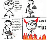 hmm: hmm  today i  will Crush  my greasy cock  and balls with  a rock  Deuteronomy  2:10 No one  whose testicles  are crushed or  severed genitals  may enter the  assembly of the  LORD  huck