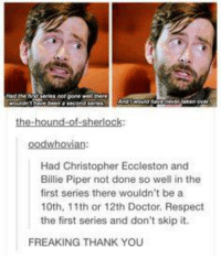 Doctor, Memes, and Respect: Hnde  hit pevies not gone wthwe  oodwhovian  Had Christopher Eccleston and  Billie Piper not done so well in the  first series there wouldn't be a  10th, 11th or 12th Doctor. Respect  the first series and don't skip it.  FREAKING THANK YOU