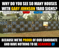 Johnson & Johnson, Memes, and House: HNSON JOHNSON  WHY DO YOU SEE SO MANY HOUSES  WITH  GARY JOHNSON  YARD SIGNS?  WANITH  YARD SIGNSZ  CANTON  JHNON  NOHNSON  SEAMAN  JOHNSON  JOHNSON  joHNSON  AOHNSON  NOHNSON  JOHNSON  uoHNSON  ALIBERTARIANFUTURE.COM  BECAUSE WERE  PROUD  OF OUR CANDIDATE  AND HAVE NOTHING TO BE  ASHAMED OF We have a candidate we can be proud of.